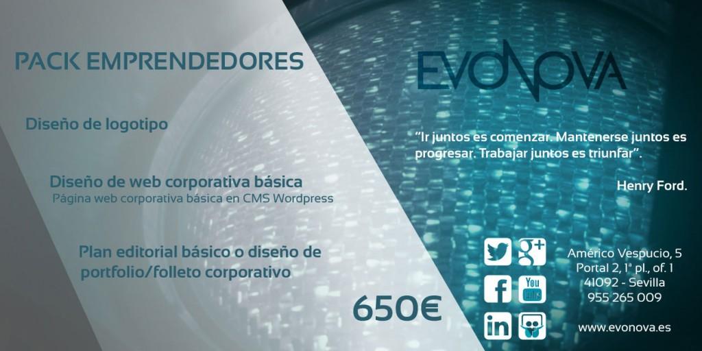 Pack para emprendedores, autónomos y nuevas empresas. Evonova Marketing (Sevilla)